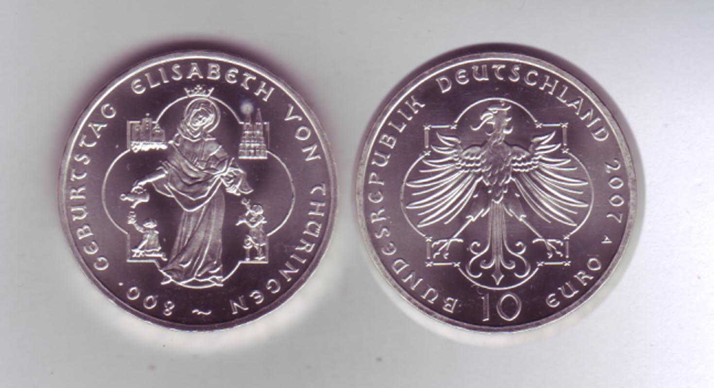 Silbermünze 10 Euro 2007 Elisabeth V Thüringen Stempelglanz