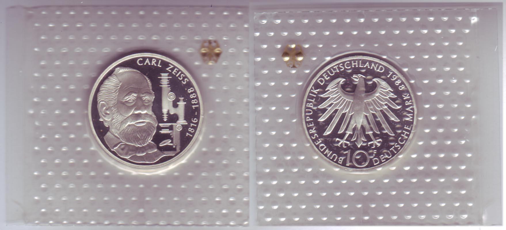 Silbermünze 10 Dm 1988 Carl Zeiss Polierte Platte F 4