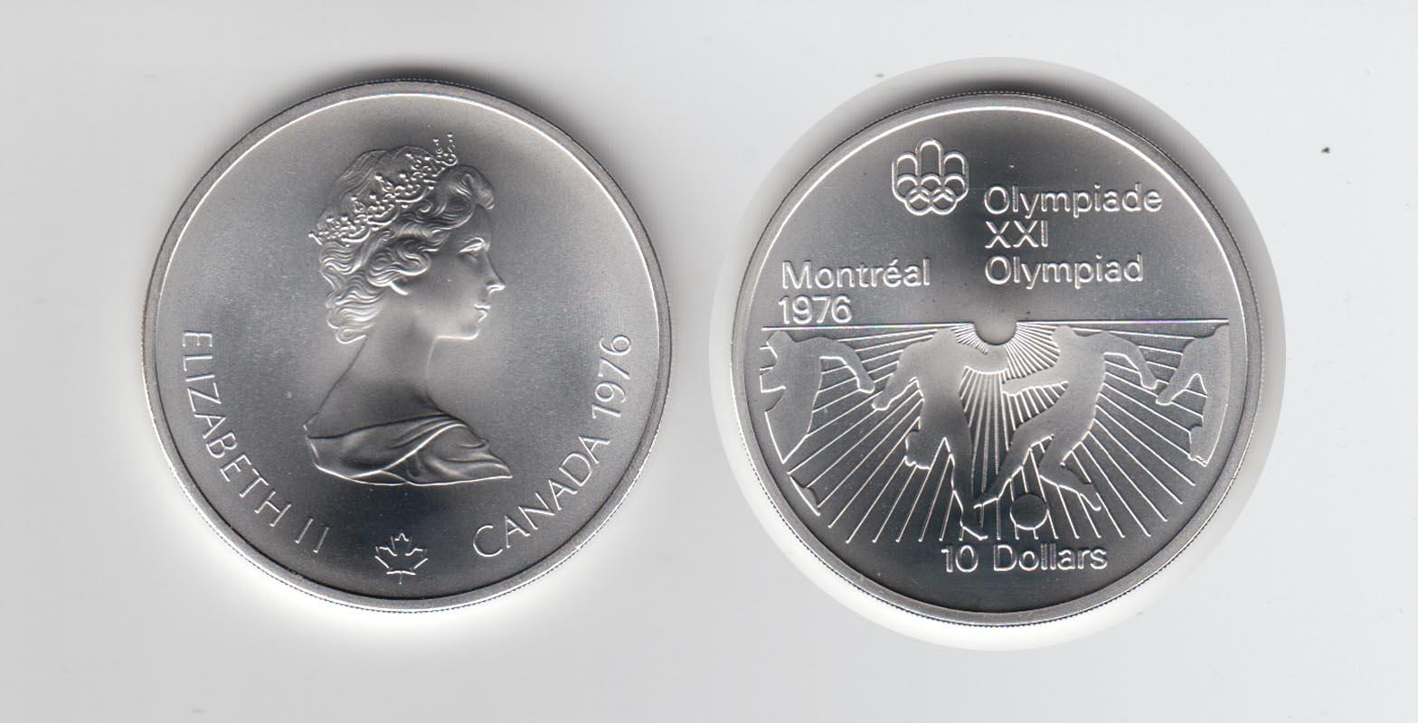 Silbermünze Kanada 10 Dollars Olympiade Montreal 1976 Fußball