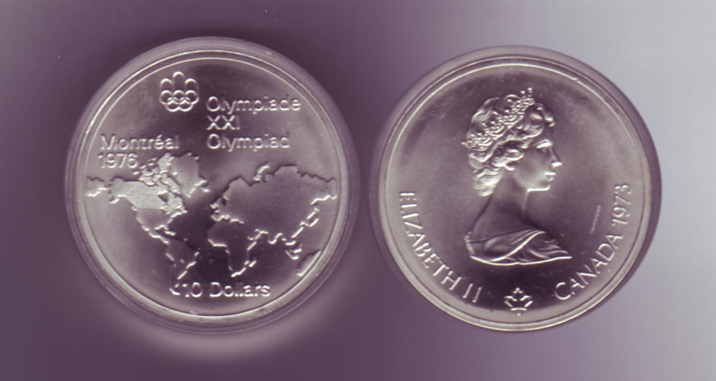 Silbermünze Kanada 10 Dollars Olympiade Montreal 1976 Weltkarte