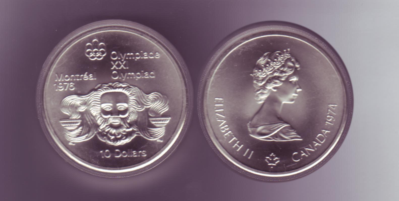 Silbermünze Kanada 10 Dollars Olympiade Montreal 1976 Zeuss