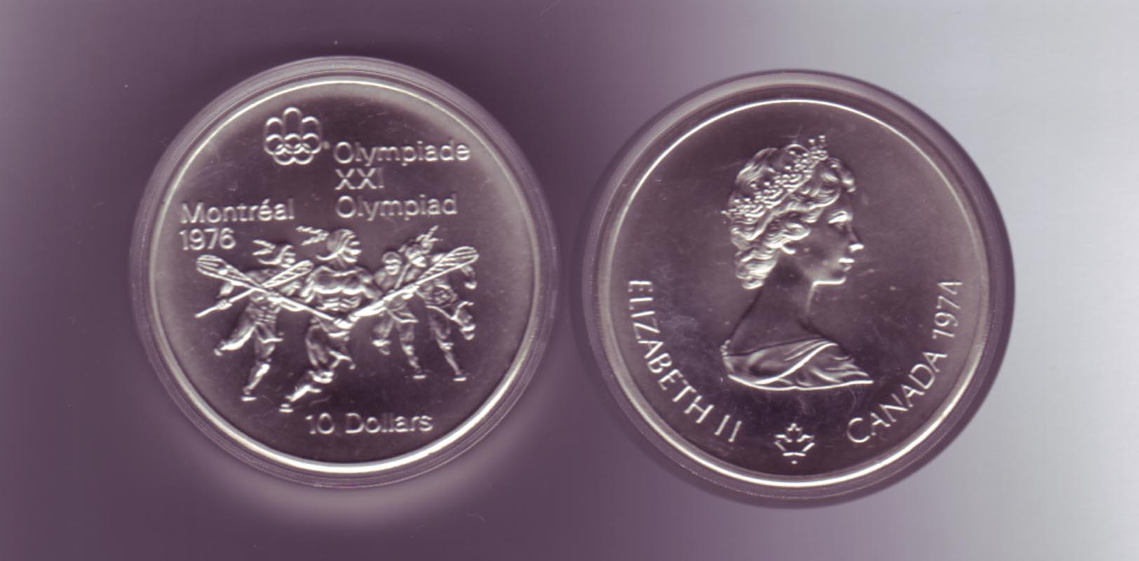 Silbermünze Kanada 10 Dollars Olympiade Montreal 1976 Lacrosse