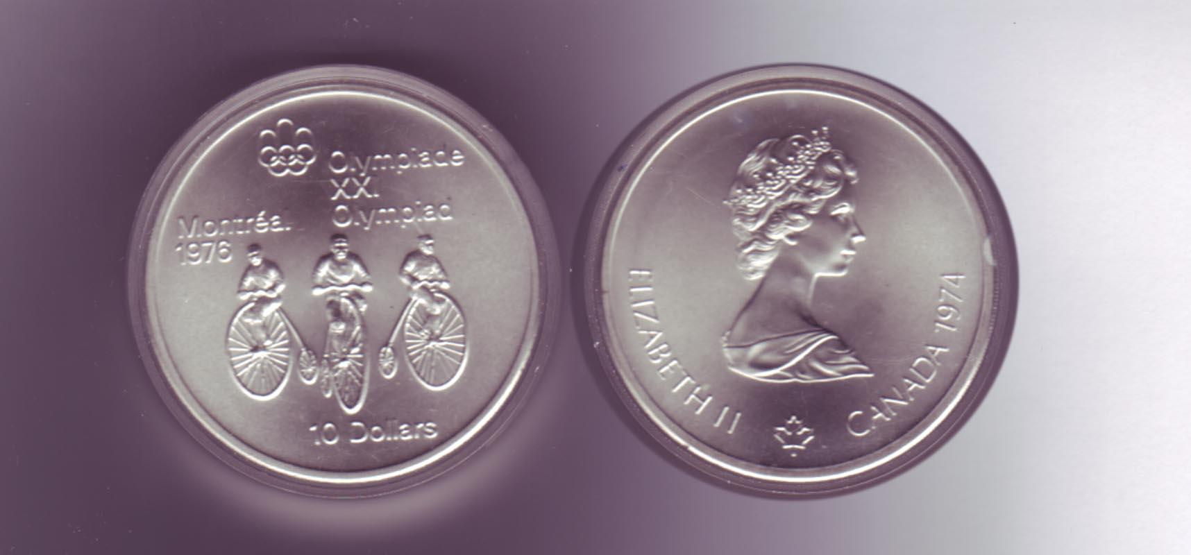 Silbermünze Kanada 10 Dollars Olympiade Montreal 1976 Radfahrer