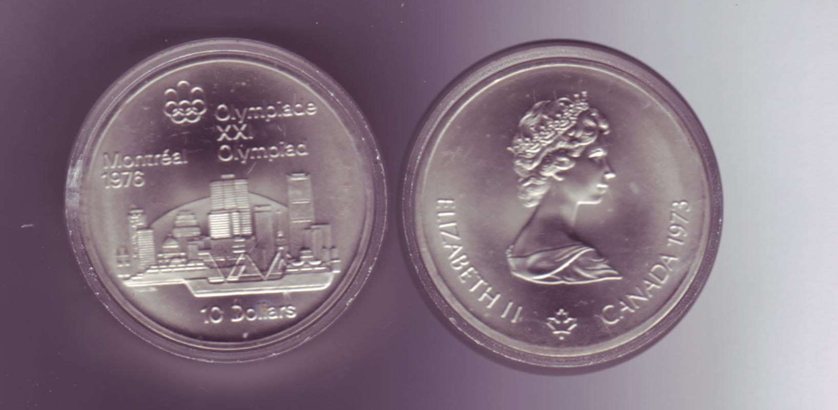 Silbermünze Kanada 10 Dollars Olympiade Montreal 1976 Skyline