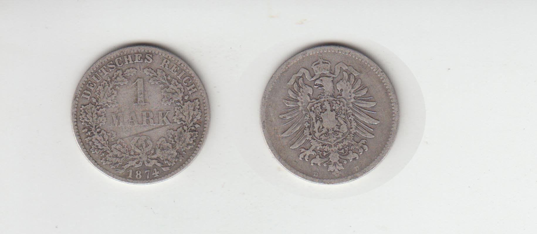 Silbermünze Kaiserreich 1 Mark 1874 D Jäger Nr 9 117 Philastudio