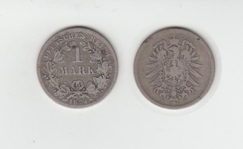 Silbermünze Kaiserreich 1 Mark 1874 F Jäger Nr 9 129 Philastudio