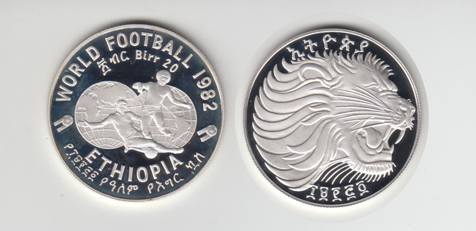 Silbermünze äthiopien Fußball Wm Spanien 1982 Weltkugel Wm Emblem