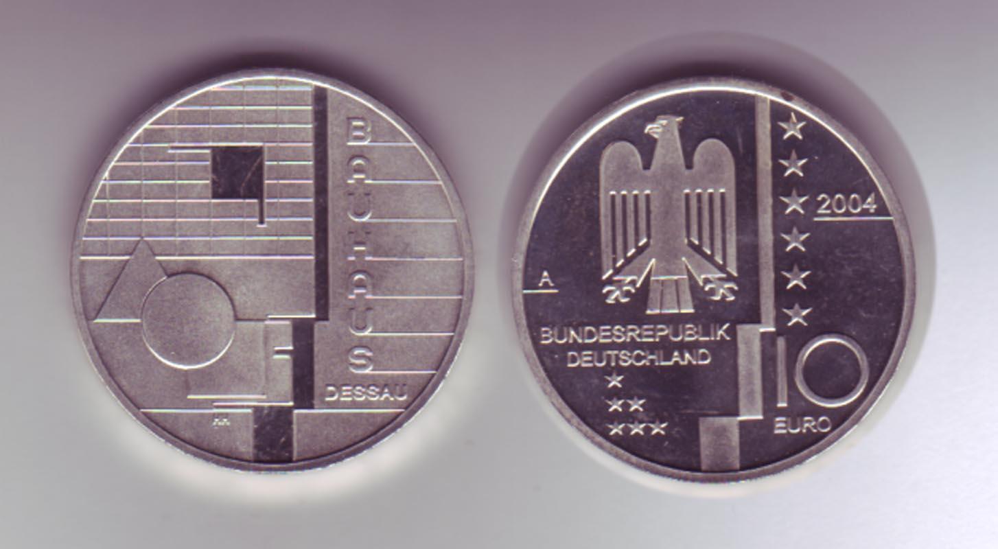 Silbermünze 10 Euro 2004 Bauhaus Dessau Stempelglanz Philastudio