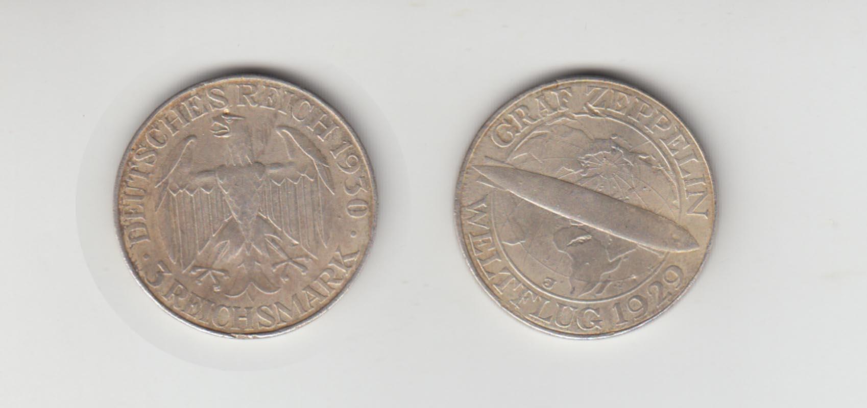 Münze Weimar Graf Zeppelin Weltflug 1929 3 Reichsmark 1929 A Jäger