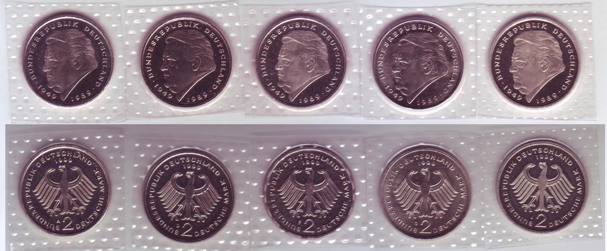 Münze 2 Dm 1999 Franz Josef Strauß 1949 1989 Prägeanstalten A D F